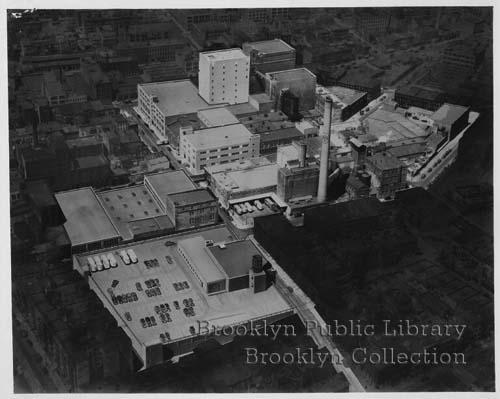 Aerial view of Liebmann Breweries located at 36 Forrest Street. Credit: Brooklyn Public LIbrary, Brooklyn Collection
